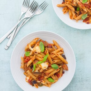 Aubergine and Mozzarella Pasta