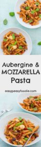 A delicious homemade tomato pasta sauce, perfectly cooked aubergines and salty, stretchy, gooey strings of Mozzarella make this simple Aubergine and Mozzarella Pasta recipe a real family favourite. Ready in under 30 minutes it's perfect for busy weeknights!#aubergine #mozzarella #pasta #tomato #basil #balsamicvinegar #jamieoliver #under30minutes #30minutemeals #italianfood #easydinners #midweekmeals #familydinners #easypeasyfoodie
