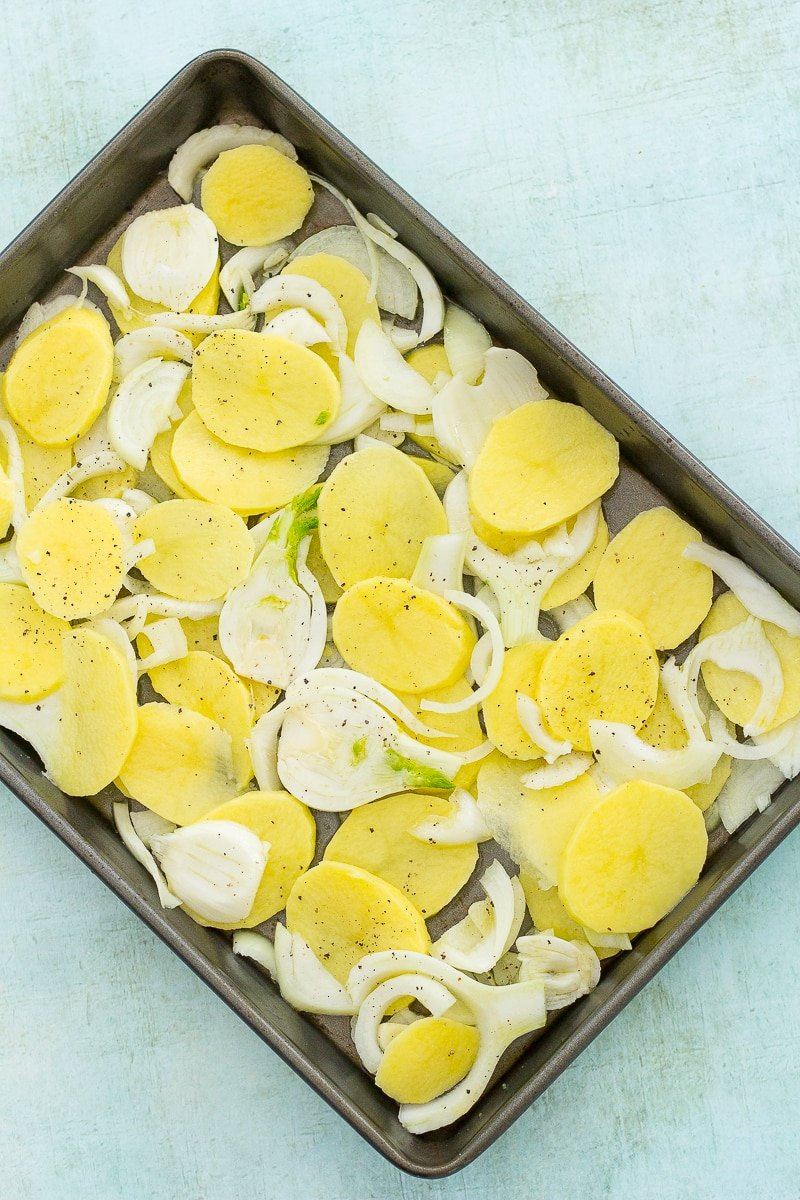 Sea Bream, Fennel and Potato Traybake