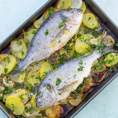 Sea Bream, Fennel and Potato Traybake