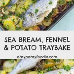 This Sea Bream with Fennel and Potatoes is such a simple recipe, but looks and tastes like you've slaved over the stove for hours (when you really haven't). Perfect for stress-free entertaining! #seabream #fennel #potatoes #traybake #fishtraybake #easyentertaining #sheetpandinner #easymidweekmeals #glutenfree #dairyfree #easydinners #dinnertonight #dinnertonite #familydinners #familyfood #easypeasyfoodie #cookblogshare