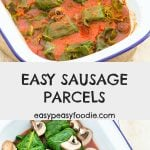 These Easy Sausage Parcels are quick and easy to prepare and taste delicious. Plus they're budget friendly too. The perfect midweek meal! #sausageparcels #sausages #cabbage #cabbageparcels #tomatoes #mushrooms #sausagecasserole #sausagestew #easymidweekmeals #glutenfree #dairyfree #onepan #onepandinner #easyrecipes #easymeals #easydinners #dinnertonight #dinnertonite #familydinners #familyfood #easypeasyfoodie #cookblogshare