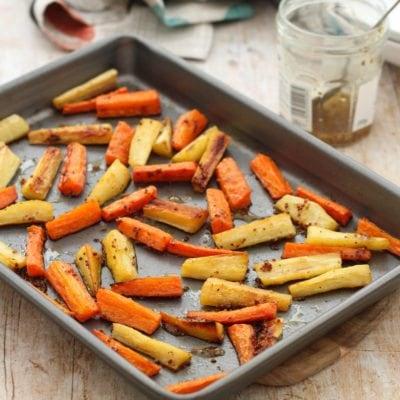 Easy Peasy Roast Parsnips and Carrots with Honey Mustard Glaze
