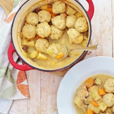 Roast Chicken Leftovers Stew with Easy Peasy Dumplings