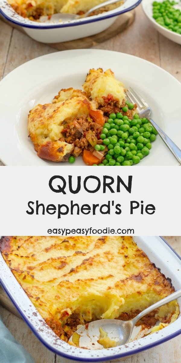 A delicious, easy, family friendly classic with a twist, this Quorn Shepherd's Pie uses Quorn instead of the traditional lamb, meaning this version is both vegetarian and much quicker to prepare – perfect for busy weeknights! #quorn @quornuk @quornus #quornpie #shepherdspie #vegetarianpie #veggie #vegetarian #easydinners #easymeals #midweekmeals #familydinners #easypeasyfoodie #freefromgang #cookblogshare