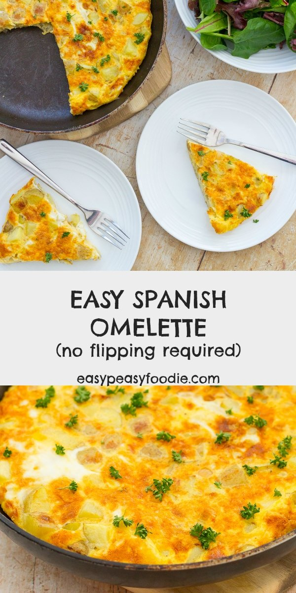 Spanish Omelette makes fab easy peasy dinner. Serve with a green salad, some crusty French bread and a glass of chilled white wine. It tastes just as great the next day cold too - perfect for lunchboxes! #spanishomelette #spanishtortilla #omelette #tortilla #spanishfood #spanishrecipes #eggs #frittata #lunchrecipes #lunchboxideas #lunchboxrecipes#easymidweekmeals #vegetarian #glutenfree #easyrecipes #easymeals #easydinners #dinnertonight #dinnertonite #easypeasyfoodie #cookblogshare