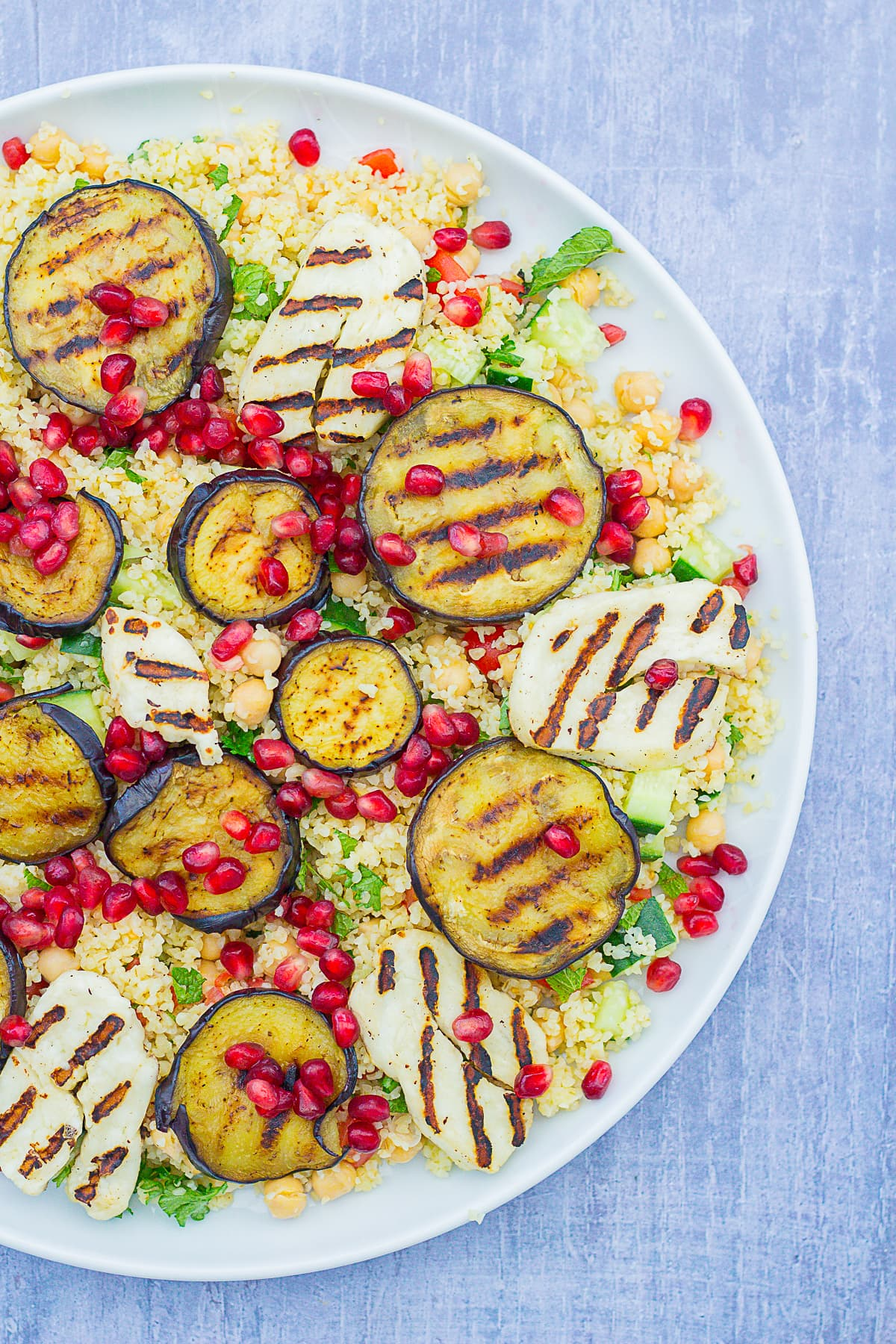 Overhead shot of Aubergine and Halloumi Salad on a large serving platter