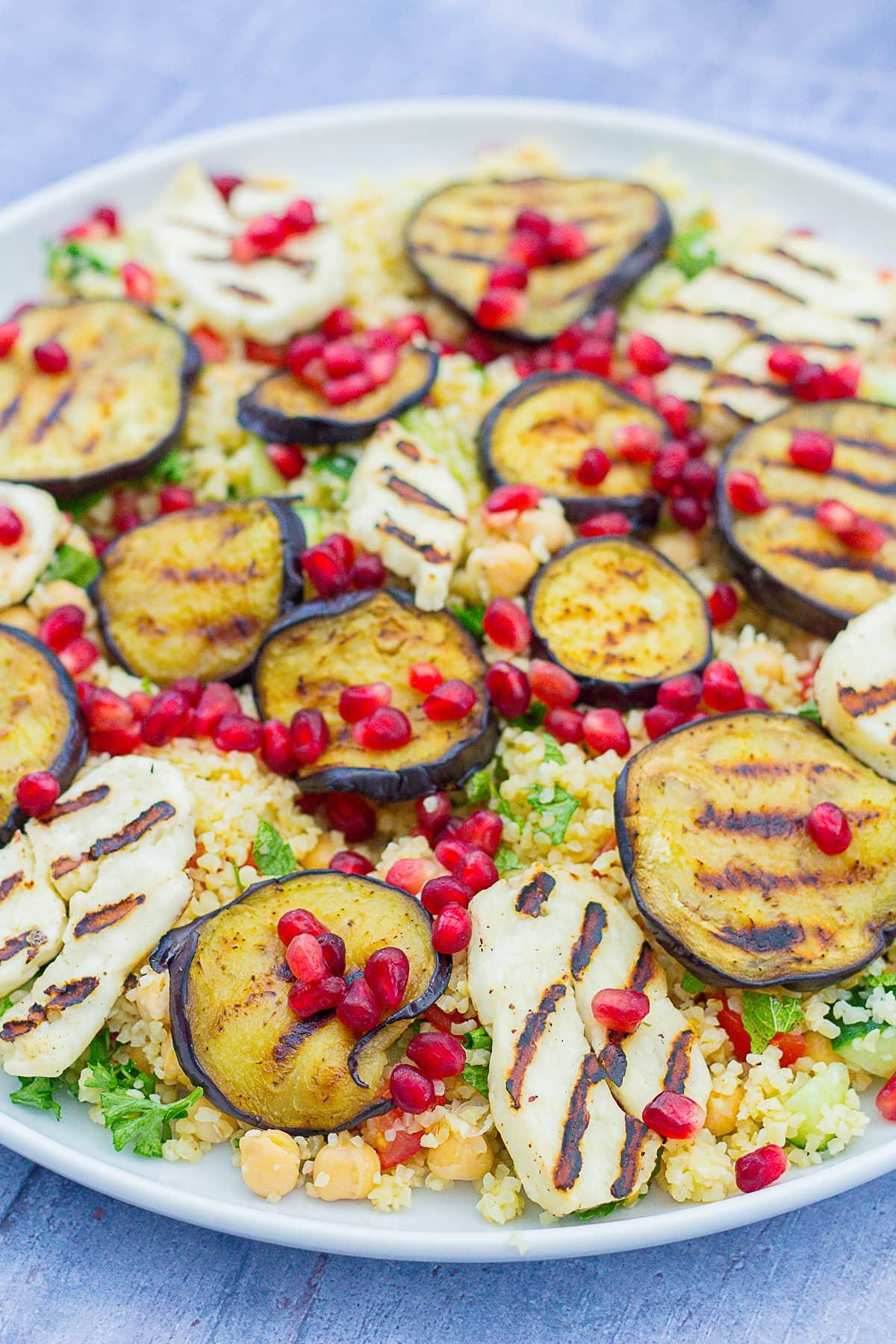 Aubergine and Halloumi Salad on a large serving platter