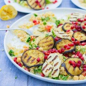 Aubergine and Halloumi Salad
