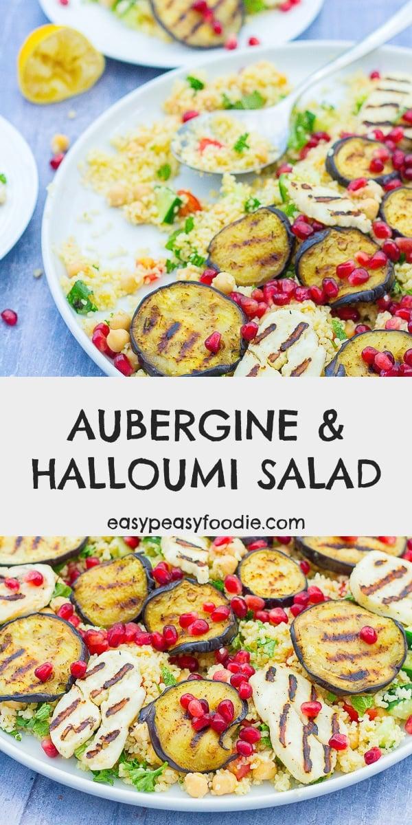 Aubergine and Halloumi Salad - pinnable image for Pinterest