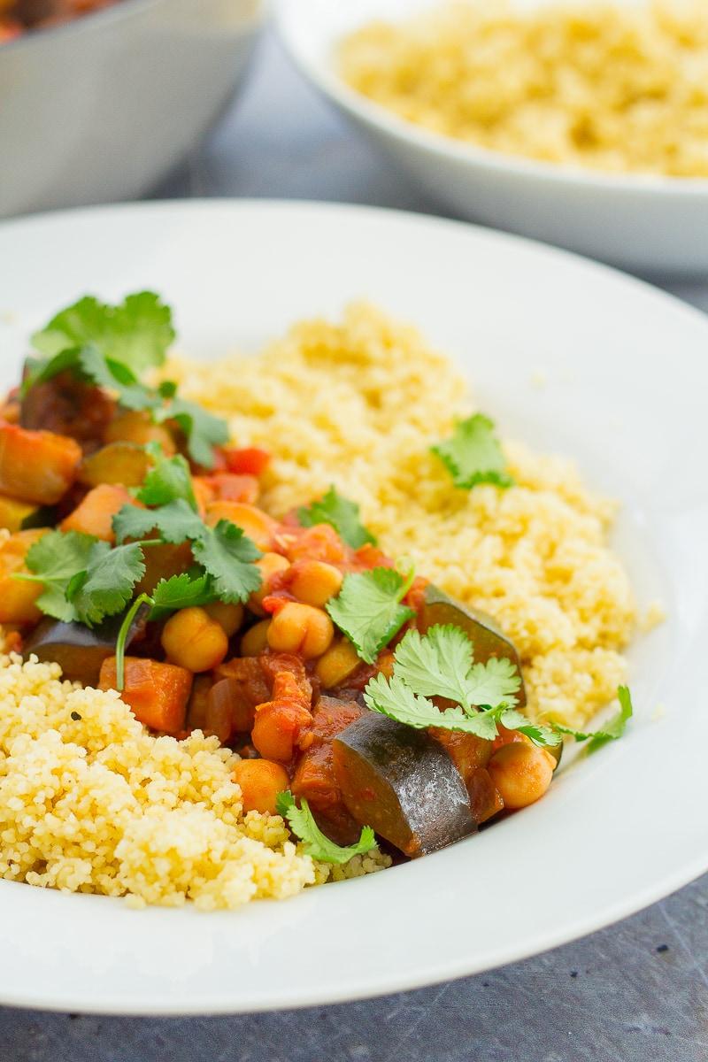Chickpea Ratatouille and Couscous (Vegan)