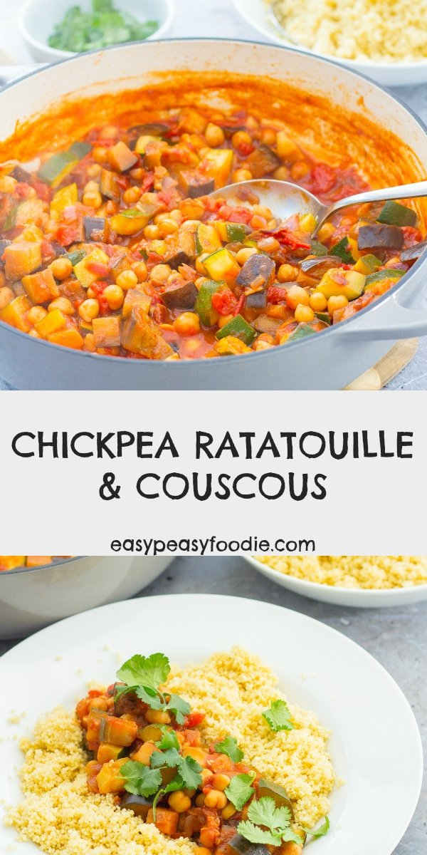 Easy, healthy and budget friendly, this Chickpea Ratatouille recipe is a sort of cross between ratatouille and a tagine, with a definite North African vibe from the cumin and coriander. It goes brilliantly with couscous or brown rice. #chickpeas #ratatouille #chickpearatatouille #couscous ##easymidweekmeals #vegetarian #glutenfree #dairyfree #vegan #under500calories #healthyfood #healthymeals #easyrecipes #easymeals #easydinners #dinnertonight #dinnertonite #familydinners #familyfood #easypeasyfoodie #cookblogshare