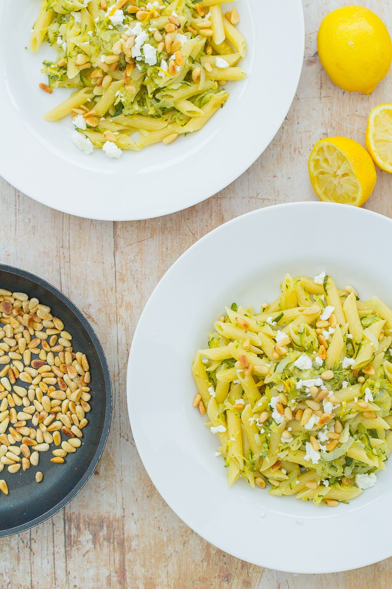 Feta, Caramelised Onion and Courgette Pasta