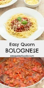 Quorn Mince is a midweek meal lifesaver! Keep a bag stashed in the freezer for emergencies and you can have this Easy Quorn Bolognese on the table in just 20 minutes! #quorn #quornmince #quornbolognese #bolognese #bolognaise #spaghetti #spaghettibolognese #spagbol #quornspagbol #pasta #kidfriendly #kidfood #comfortfood #winterfood #midweekmeals #familydinners #easydinners #easymeals #midweekdinners #easypeasyfoodie #cookblogshare #freefromgang