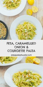 Italy meets Greece in this easy Feta, Caramelised Onion and Courgette Pasta recipe. Soft, sweet caramelised onions and courgettes pair beautifully with sharp, salty feta and the gentle nuttiness of pine nuts - all stirred into pasta to make a delicious, but very easy, midweek meal. #feta #courgette #zucchini #pasta #pinenuts #lemon #easymidweekmeals #easymeals #midweekmeals #easydinners #dinnertonight #dinnertonite #familydinners #familyfood #easypeasyfoodie #cookblogshare