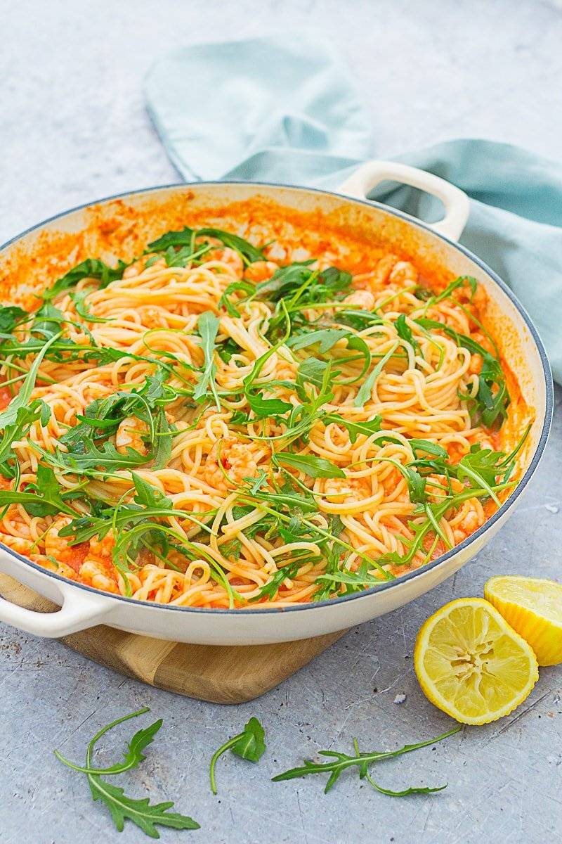 Easy Prawn and Rocket Spaghetti in a pan