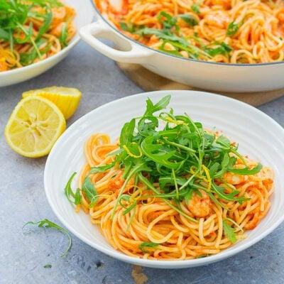 Easy Prawn and Rocket Spaghetti