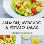 A deliciously simple, nutritious, and yet surprisingly substantial meal, this Salmon, Avocado and Potato Salad is perfect for quick and easy lunch or light supper. Especially as it can made in well under 30 minutes! #salmon #salad #salmonsalad #potatosalad #avocadosalad #easymidweekmeals #easymeals #midweekmeals #easydinners #dinnertonight #dinnertonite #familydinners #familyfood #easypeasyfoodie #cookblogshare