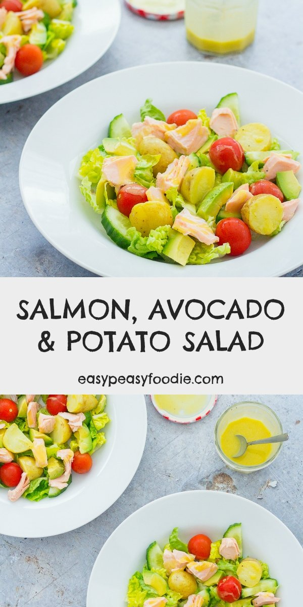 A deliciously simple, nutritious, and yet surprisingly substantial meal, this Salmon, Avocado and Potato Salad is perfect for a quick and easy lunch or light supper. Especially as it can made in well under 30 minutes! #salmon #salad #salmonsalad #potatosalad #avocadosalad #easymidweekmeals #easymeals #midweekmeals #easydinners #dinnertonight #dinnertonite #familydinners #familyfood #easypeasyfoodie #cookblogshare