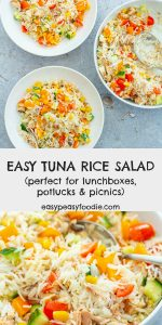 This Tuna Rice Salad is so simple to make, but tastes great. Perfect for a light lunch and works very well in a lunchbox, as part of a picnic or at buffet / potluck. Alternately, you could serve it with a green side salad and some crusty bread for a more substantial meal. #tunaricesalad #tunasalad #ricesalad #picnicrecipes #potluckrecipes #lunchboxrecipes #easymidweekmeals #glutenfree #dairyfree #easydinners #dinnertonight #dinnertonite #familydinners #familyfood #easypeasyfoodie