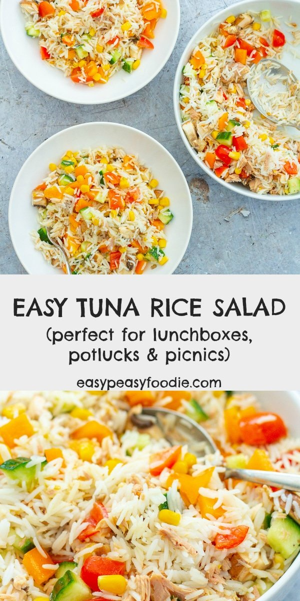 This Easy Tuna Rice Salad is so simple to make, but tastes great. Perfect for a light lunch, as part of a picnic or at a potluck/buffet. Alternatively, serve with a green side salad and some crusty bread for a more substantial meal. #tunaricesalad #tunasalad #ricesalad #picnicrecipes #potluckrecipes #lunchboxrecipes #easymidweekmeals #glutenfree #dairyfree #easydinners #dinnertonight #dinnertonite #familydinners #familyfood #easypeasyfoodie