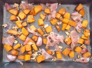Butternut Squash and Prosciutto in Roasting Tray