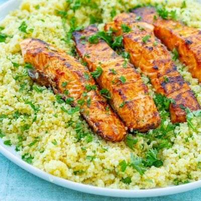 Harissa Salmon with Herby Couscous