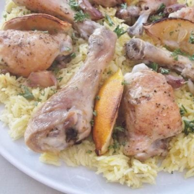 Lemon and Garlic Chicken Traybake with Saffron Rice Pilaf
