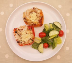 Simple Stuffed Peppers and Salad