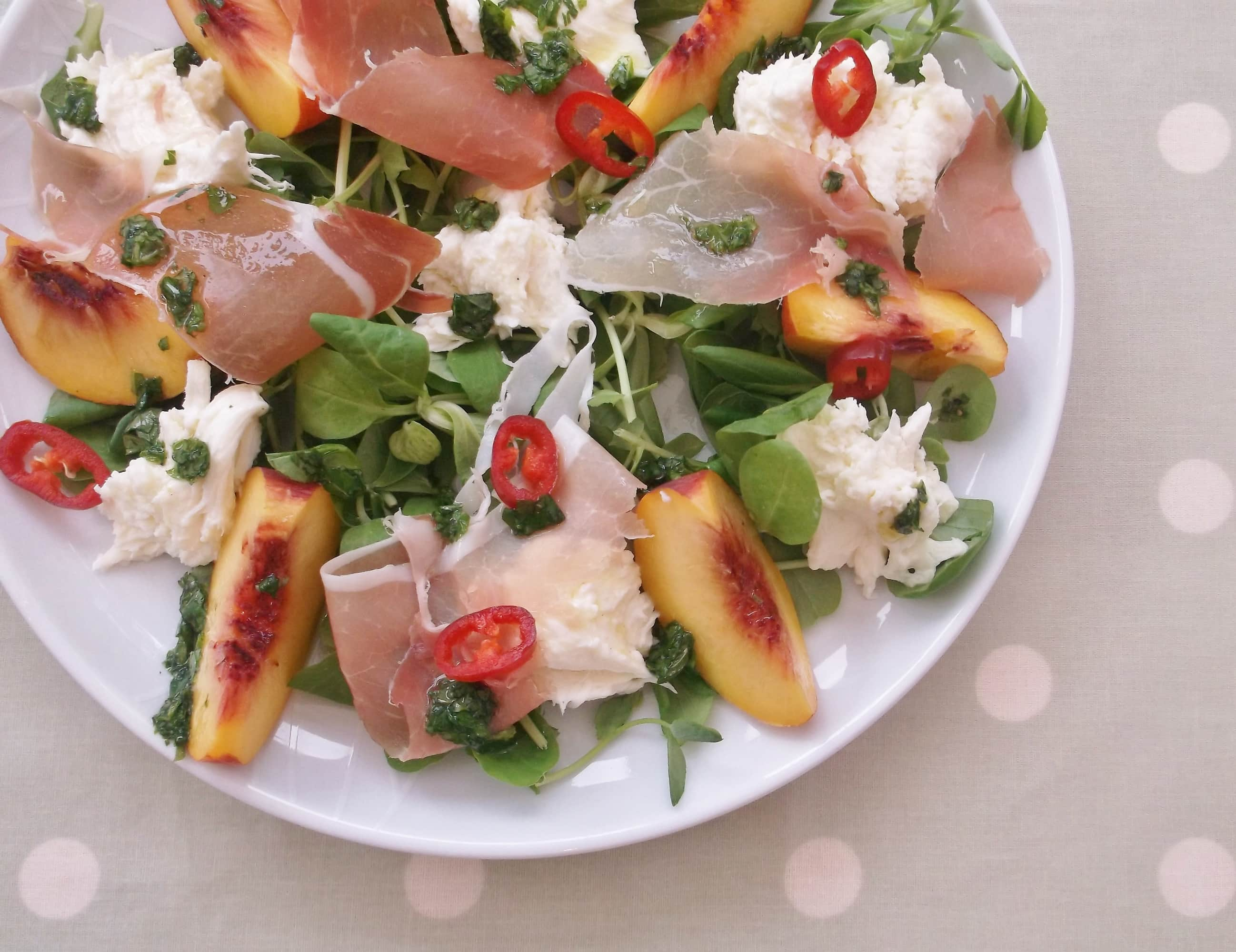 Peach, Prosciutto and Mozzarella Salad - Easy Peasy Foodie