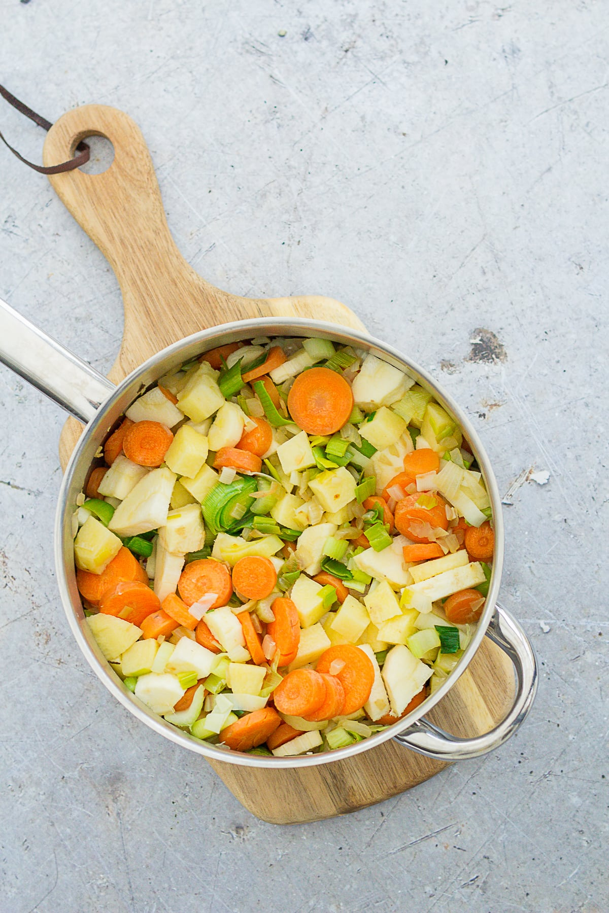 Easy Peasy Vegetable Soup ingredients in a pan