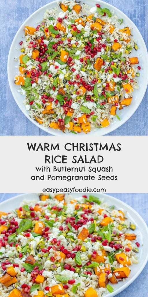 With sweet squash, salty feta, crunchy pistachios and fruity pomegranate seeds, this Warm Christmas Rice Salad is a real crowd-pleaser. It's quick and easy to make too - perfect for festive entertaining. Plus the leftovers make an envy-inducing paced lunch the next day! #ricesalad #warmricesalad #christmassalad #butternutsquash #pomegranate #pistachios #fetacheese #christmasfood #boxingdayfood #thanksgivingfood #festivefood #mealprep #lunch #potluck #buffet #easydinners #easypeasyfoodie