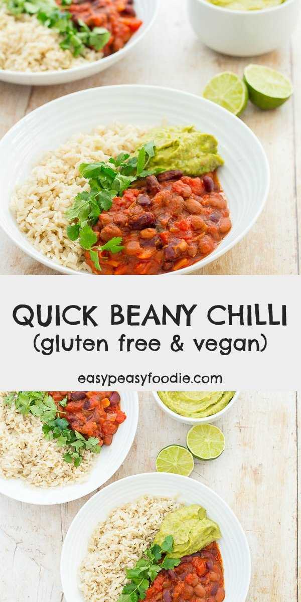 Quick Beany Chilli - pinnable image for Pinterest