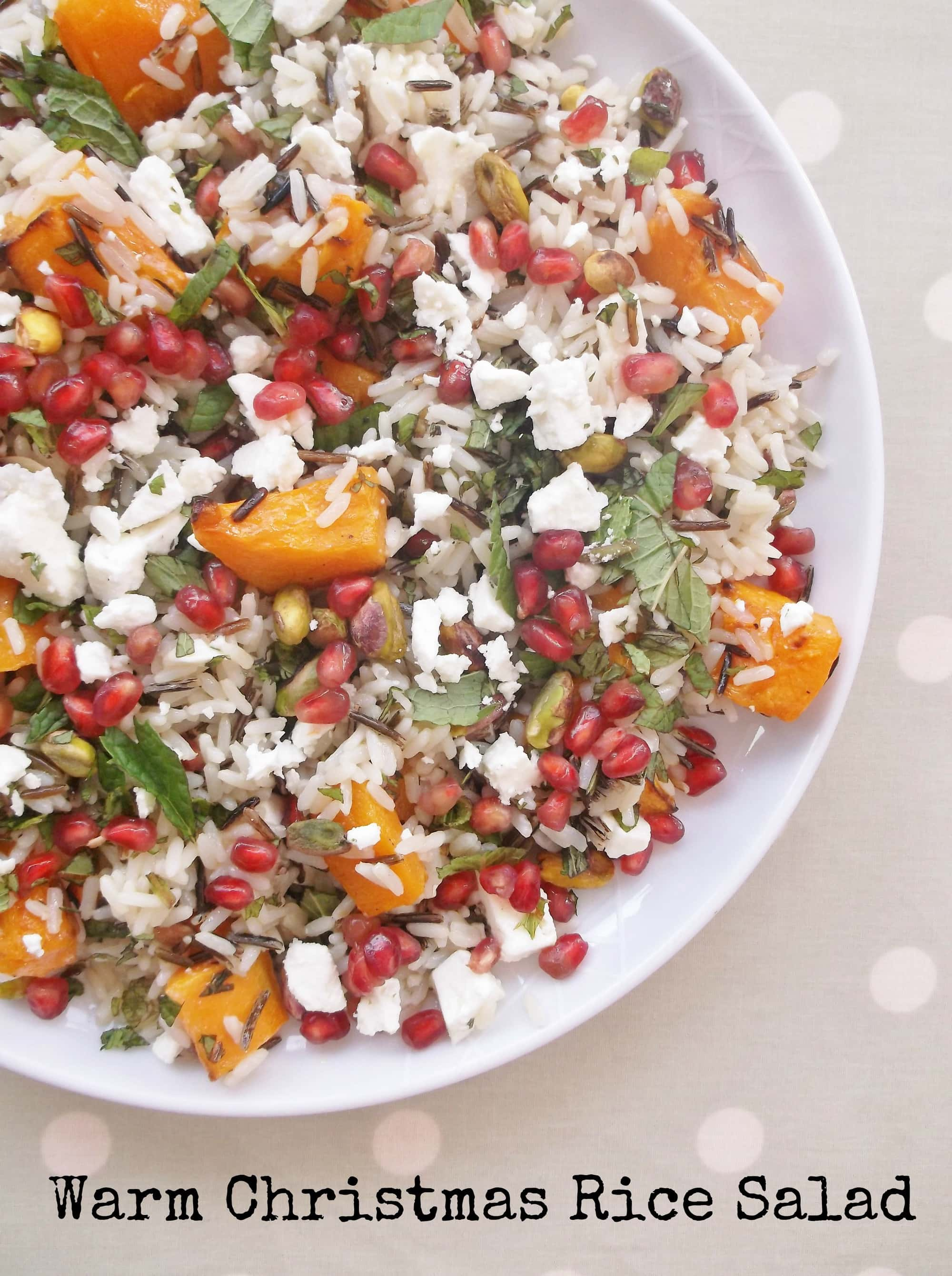 Warm Christmas Rice Salad with Butternut Squash and Pomegranate Seeds