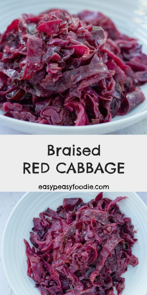 For me Christmas wouldn't be the same without braised red cabbage. Plus, it's really easy to make and it's a great make ahead dish for Christmas and beyond! #braisedredcabbage #christmasredcabbage #spicedredcabbage #redcabbage #easyentertaining #thanksgivingfood #christmasfood #christmasveg #christmasvegetables #christmassides #sidedish #vegetarian #easypeasyfoodie #freefromgang #cookblogshare