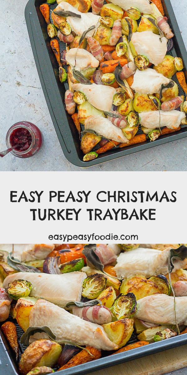 Easy Peasy Christmas Turkey Traybake - pinnable image for Pinterest