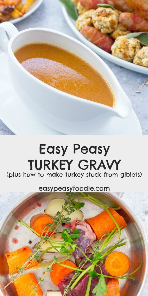 Want to make delicious Easy Peasy Turkey Gravy made from scratch – including making the stock from the turkey giblets? Then you will love this recipe! The turkey stock can also be made ahead and frozen - meaning one less job to do on Christmas day! #turkey #gravy #turkeygravy #turkeygiblets #gibletstock #turkeystock #gravyfromscratch #thanksgivingfood #christmasfood #easysides #easysauces #easypeasyfoodie #cookblogshare #freefromgang