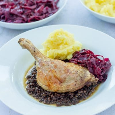 Roast Duck with Lentils, Red Cabbage and Mashed Potato