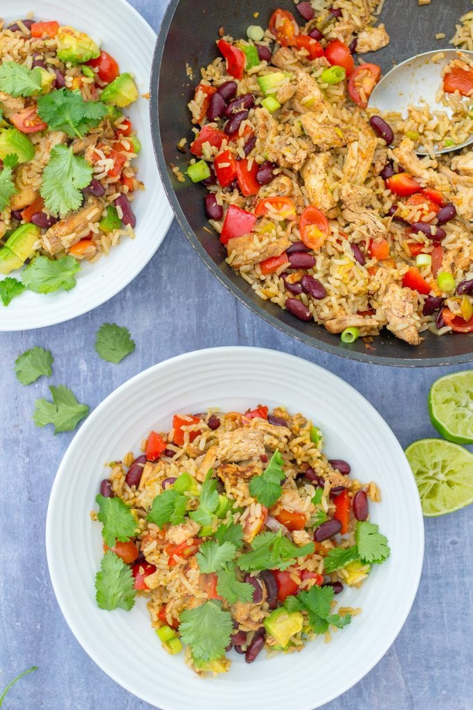 Mexican Rice Salad with Leftover Turkey