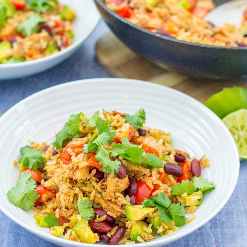 Warm Mexican Rice Salad with Leftover Turkey