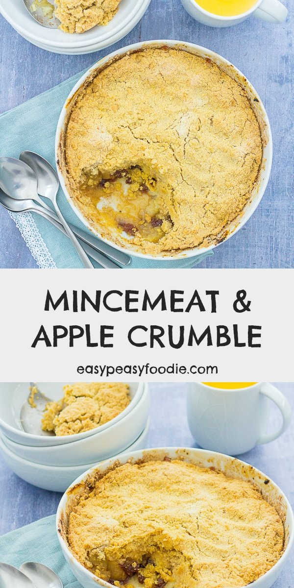 Easy Mincemeat and Apple Crumble - pinnable image for Pinterest