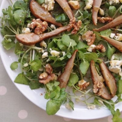 Roasted Pear, Stilton and Walnut Salad
