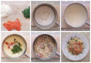 Smoked Salmon Pasta Collage