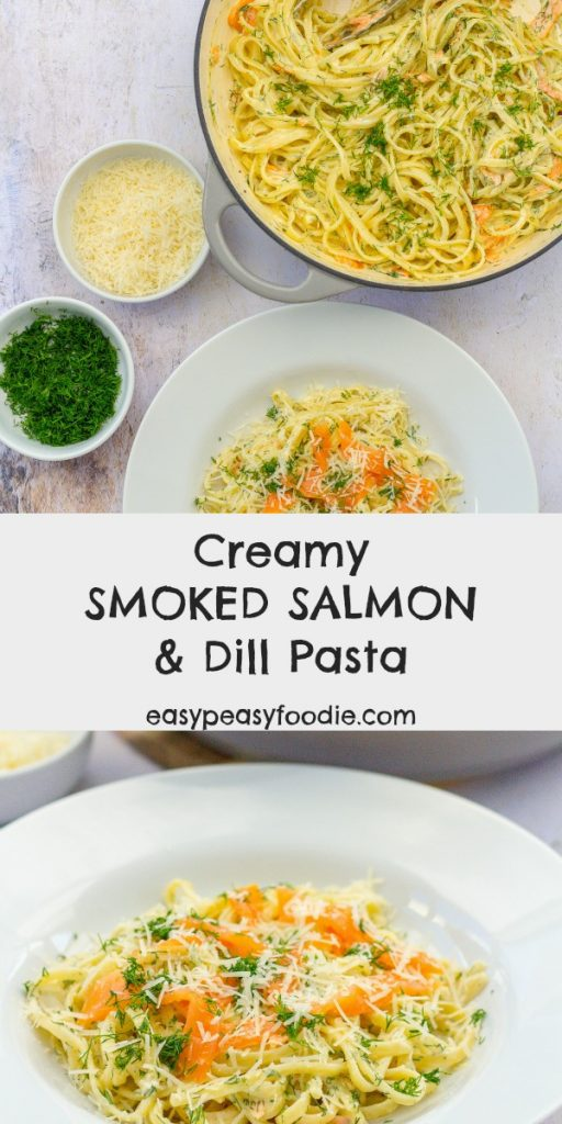 This Creamy Smoked Salmon and Dill Pasta looks and tastes rather decadent - but is actually unbelievably easy, only uses 6 ingredients and takes just 15 minutes to make! Perfect for a touch of midweek luxury, but delicious enough to serve at the weekend - or even a dinner party. #pasta #linguine #salmonpasta #smokedsalmonpasta #salmon #smokedsalmon #leftovers #dill #creamypasta #easydinners #easymeals #midweekmeals #familymeals #dinnerparty #dinnerpartystarter #easypeasyfoodie