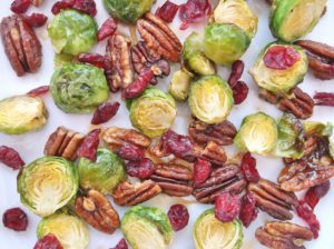 Sprouts with Maple Syrup Pecans and Cranberries