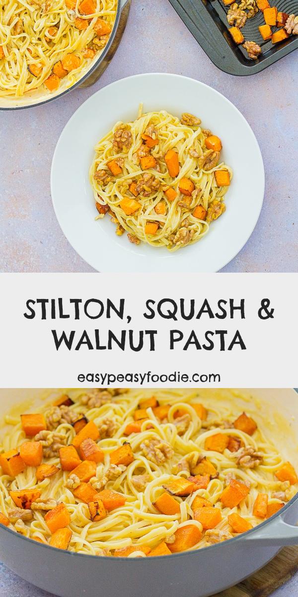 Stilton, Squash and Walnut Pasta - Pinnable image for Pinterest