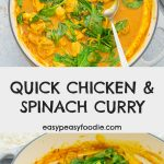 Quick Chicken and Spinach Curry (Chicken Saag) - pinnable image for Pinterest