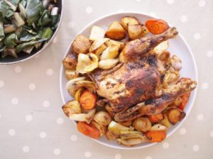 Roast Chicken and Roast Root Vegetables with Stir-Fried Chard