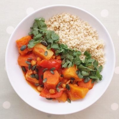 Quick Root Veg and Chickpea Tagine with Wholewheat Couscous and Pumpkin Seeds (Vegan)