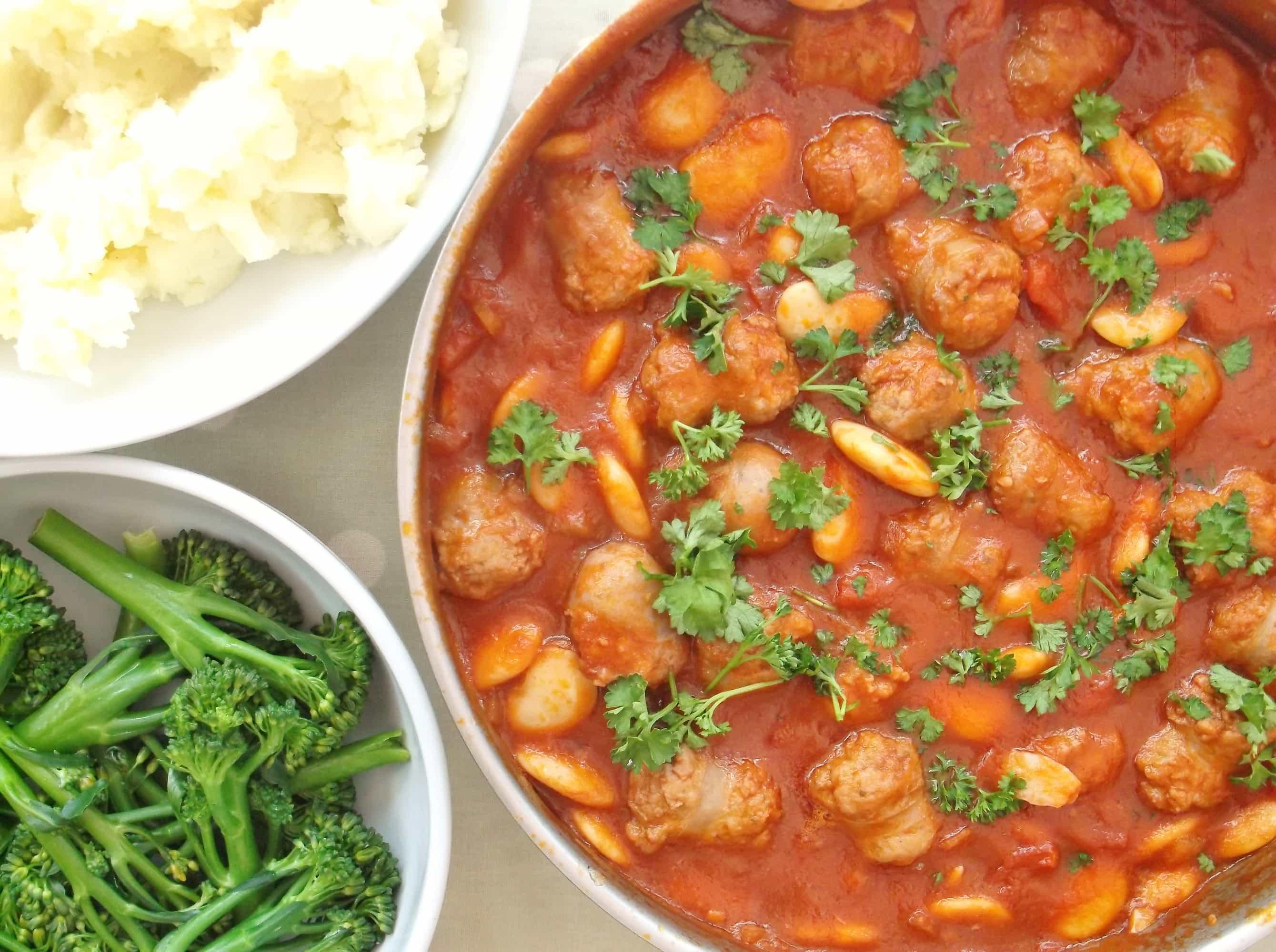 Sausage Red Wine And Butter Bean Casserole